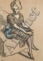 Louis VALTAT (Dieppe, 1869 - Paris, 1952) FEMME ASSISE Pastel et fusain sur papier brun