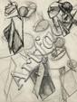 Julio GONZALEZ (Barcelone, 1876 - Arcueil, 1942) TÊTES, ETUDES POUR UNE SCULPTURE, circa 1932-1933 Dessin au crayon et encre sur pap...