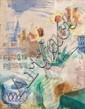 Jean DUFY (Le Havre, 1888- Boussay, 1964) BOUQUET DE TULIPES DANS UN VASE, 1925 Aquarelle et gouache sur papier