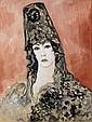 Francis PICABIA (Paris, 1879 - Paris, 1953) ESPAGNOLE A LA MANTILLE, CIRCA 1926-1927 Aquarelle, gouache et crayon gras sur papier
