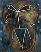 Francis PICABIA (Paris, 1879 - Paris, 1953) JE VOUS ATTENDS, CIRCA 1948 Huile sur carton contrecollé sur panneau d'isorel