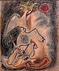 André MASSON (Balagny-sur-Thérain,1896 - Paris, 1987) TROPHEE, 1974 Pastel sur papier teinté marouflé sur toile