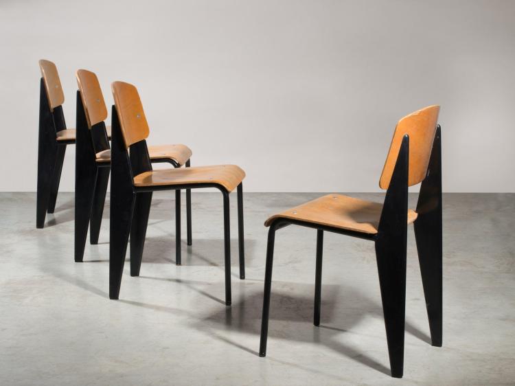 jean prouve 1901 1984 suite de quatre chaises mod m trop. Black Bedroom Furniture Sets. Home Design Ideas