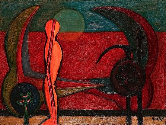 Robert HELMAN (1910-1990) SURINDEPENDENTS, 1947 Huile sur toile signée en bas ...