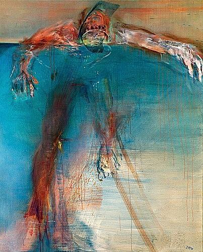 Jörg MADLENER (né en 1939) PLONGEUR I, 1975 Huile et gaze sur toile signée du ...
