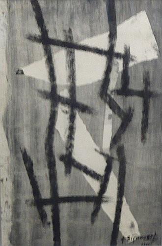 Jean SIGNOVERT (1919-1981) SANS TITRE, 1951 Fusain et gouache sur papier signé...