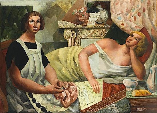 Roger BISSIERE (1886-1964) LE REPOS (DEUX FEMMES DANS UN INTERIEUR OU MADAME BISSIERE ET MADAME LHOTE DANS UN INTERIEUR), 1922 Huile...