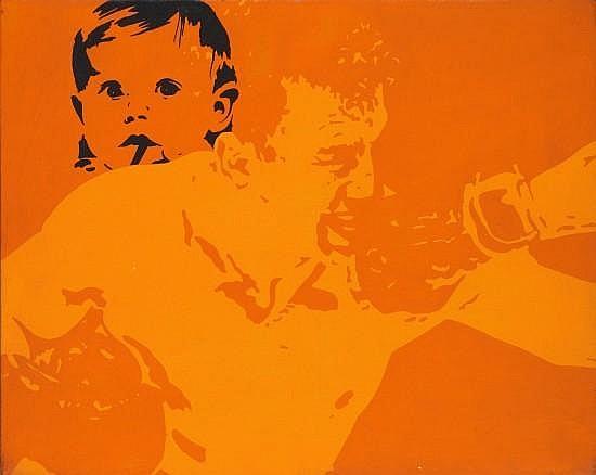 Ivan MESSAC (Né en 1948) LE NOBLE ART, ORANGE N°1, 1973 Acrylique sur toile