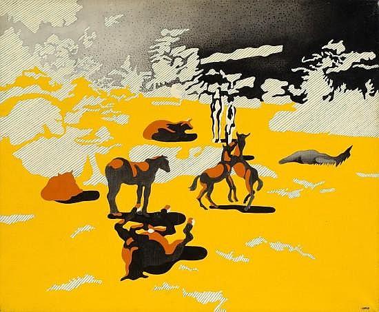Henri CUECO (né en 1929) HOMME, FEMME, CHEVAUX Huile sur toile
