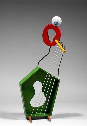 Richard (Buddy) DI ROSA (né en 1963) LA CONTREBASSE, 1994 Sculpture et acrylique sur bois