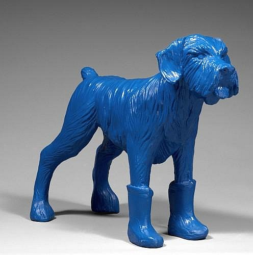 William SWEETLOVE (Né en 1949) CLONED SCHNAUZER WITH BOOTS Sculpture en résine