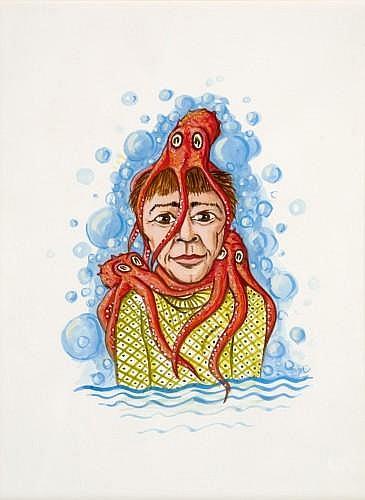 Philippe MAYAUX (né en 1961) SANS TITRE, (LE POULPE), 2002 Aquarelle sur papier