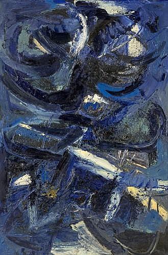 Jan MEYER 1927-1995 COMPOSITION EN BLEU DE DEUX CORPS, 1962 Huile sur toile