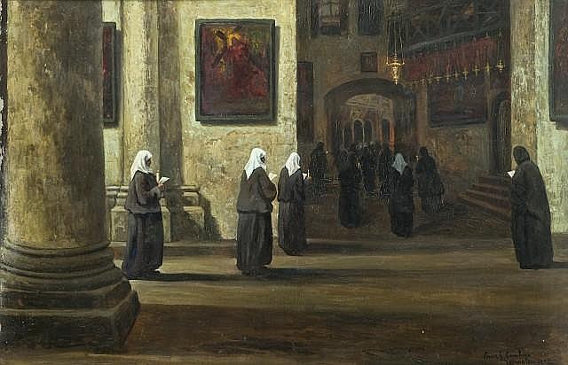 Louis Gustave Cambier Bruxelles, 1874 - 1949 Procession de religieuses au Saint Sépulcre, Jérusalem Huile sur toile