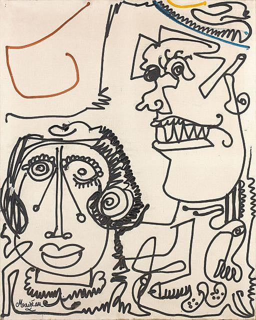 Michel MACREAU (1935-1995) LE PEINTRE ET SA MUSE, 1967 Huile sur toile