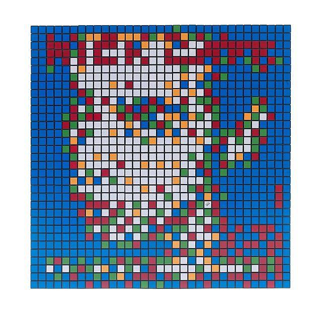 INVADER (né en 1969) RUBIK FROM HER TO ETERNITY, 2010 Rubik's Cubes assemblés sur plaque en plexiglas