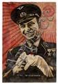 Shepard FAIREY (OBEY GIANT) (né en 1970) NO...I'M VEGETARIAN, 2007 Pochoir, peinture aérosol et collages sur papier