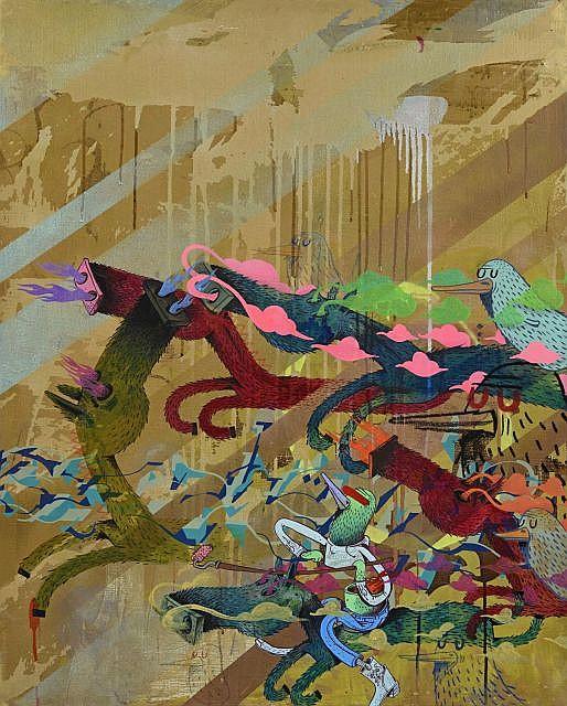 ALEXÖNE DIZAC (né en 1976) GOLDORORO, 2012 Acrylique et techniques mixtes sur toile