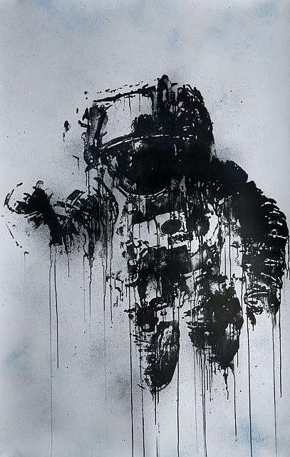 Victor ASH (né en 1968) ASTRONAUTE, 2012 Sérigraphie rehaussée à la peinture aérosol