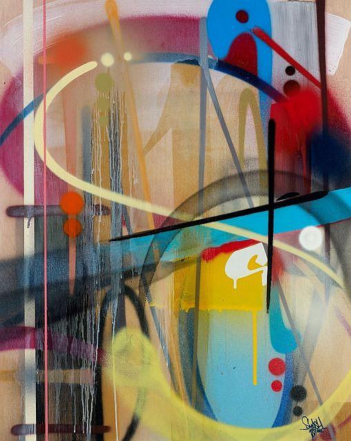 SMASH137 (né en 1979) DECK ON # 1, 2011 Peinture aérosol et acrylique sur bois