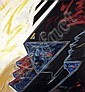 DRUILLET Philippe (né en 1944) Masque Huile sur toile réalisée à l'occasion de la série «Masques» en 1987-1988. 132x122cm. ..., Philippe Druillet, Click for value
