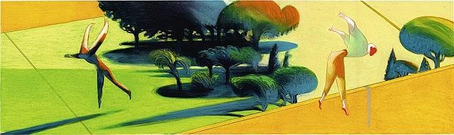 MATTOTTI Lorenzo (né en 1954) Invités sur la terre Crayons et pastels gras de couleur pour la pochette du CD éponyme de René Aub...