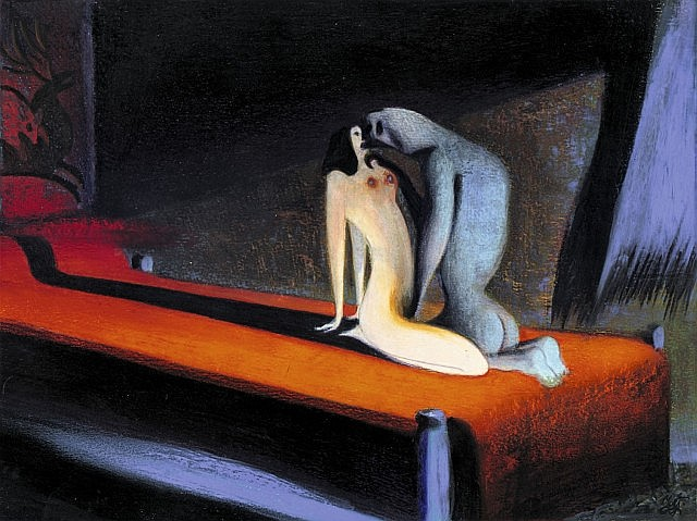 MATTOTTI Lorenzo (né en 1954) La belle et la bête Crayons et pastels gras de couleur pour une illustration réalisée en 1997. Pub...