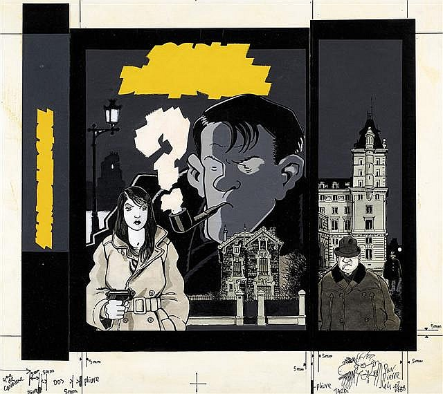 ¤ TARDI Jacques (né en 1946) Nestor Burma 120 rue de La Gare Encre de Chine, feutre noir et gouache de couleur pour la couvertur...