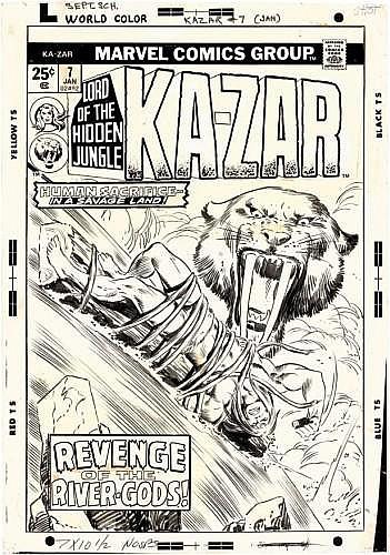 BUSCEMA John (1927-2002)  Ka-Zar Encre de Chine et rehauts de gouache blanche pour la couverture du numéro de Ka-Zar n°7 daté du moi...
