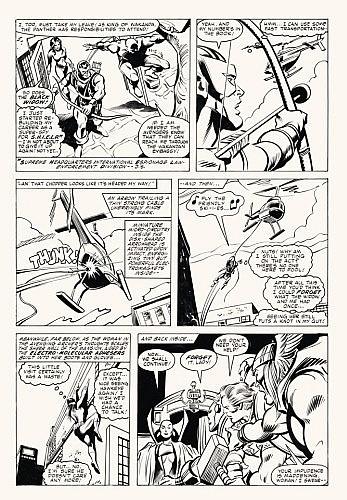 COLAN Gene (né en 1926) The Avengers Encre de Chine pour la planche 22 d'une histoire publiée par Marvel Comics Group en septem...