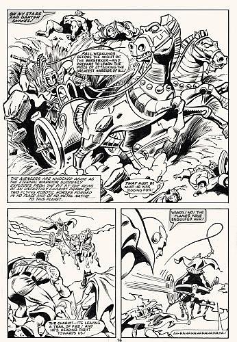 COLAN Gene (né en 1926) The Avengers Encre de Chine, le lettrage à l'encre de Chine sur calque, découpé et collé, pour la planc...