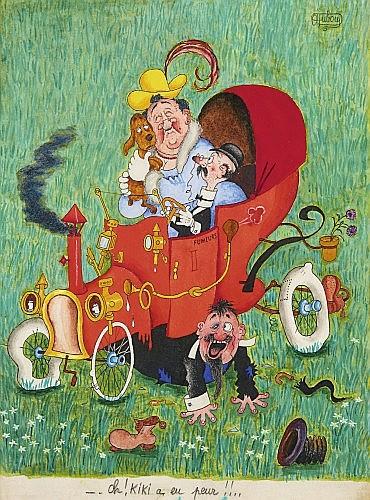 DUBOUT Albert (1905-1976) Oh ! Kiki a eu peur !!.. Encre de Chine et gouache de couleur pour une illustration publiée dans le j...