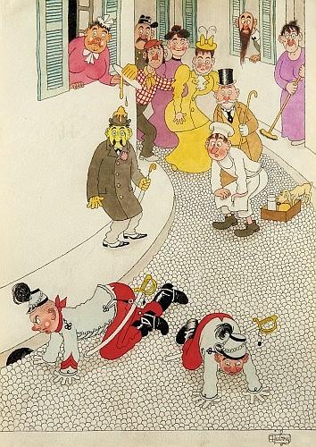 DUBOUT Albert (1905-1976) Militaires de Saint Cyr Encre de Chine et de couleur pour une illustration humoristique vraisemblable...
