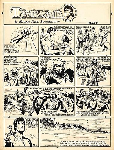 HOGARTH Burne (1911-1996) Tarzan Encre de Chine pour une planche Sunday en 4 strips et un bandeau de titre (le bandeau imprimé ...