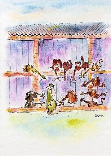 REISER Jean-Marc (1941-1983) La vie des bêtes Encre de Chine et aquarelle de couleur. Signée à l'encre de Chine. 29x20,7cm. ...