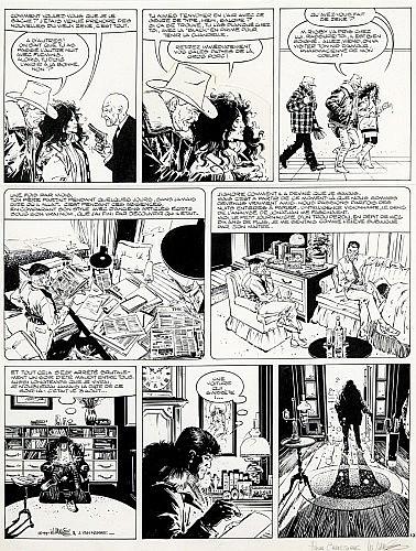 VANCE William Van Cutsen dit (né en 1935) XIII Encre de Chine et rehauts de gouache blanche, avec collage dans la seconde case,...