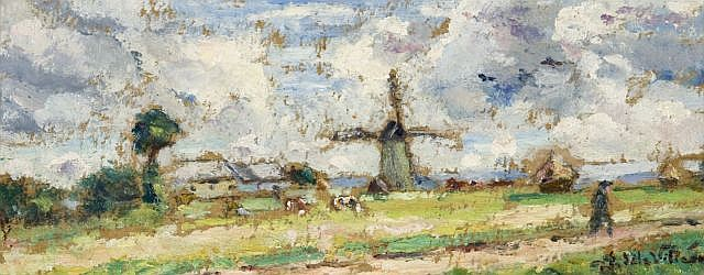 Emmanuel de LA VILLEON (1858-1944) PAYSAGE AU MOULIN Huile sur carton marouflé sur toile
