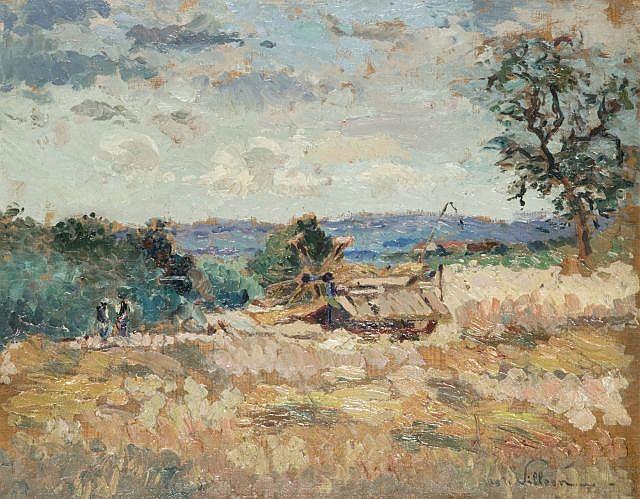 Emmanuel de LA VILLEON (1858-1944) LA MOISSONNEUSE, circa 1925 Huile sur panneau