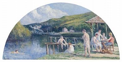 Maximilien LUCE (1858-1941) LA BUVETTE AU BORD DE LA SEINE Huile sur toile en forme d'éventail