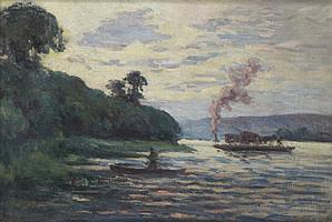 Maximilien LUCE (1858-1941) LE BAC A GUERNES, circa 1925 Huile sur toile