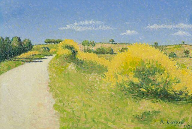 Achille LAUGE (Arzens, 1861 - Cailhau, 1944) ROUTE AUX GENÊTS, 1921 Huile sur toile