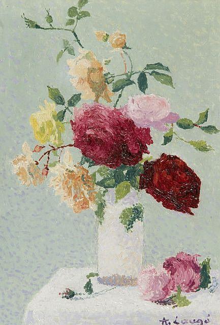 Achille LAUGE (Arzens, 1861 - Cailhau, 1944) BOUQUET DE ROSES DANS UN VASE, circa 1921 Huile sur toile
