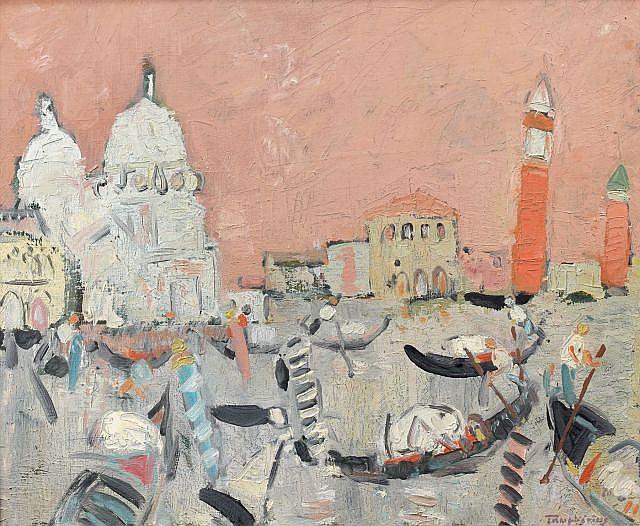 Jacques TRUPHEMUS (né en 1922) VENISE, LES DEUX CAMPANILES ROSES Huile sur toile