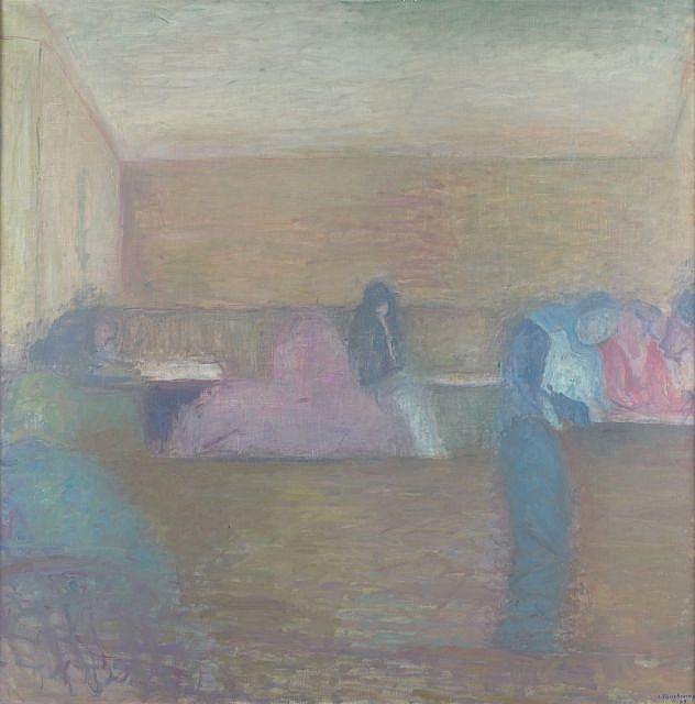 Jacques TRUPHEMUS (né en 1922) DEMI-JOUR, INTERIEUR DE CAFE, 1989 Huile sur toile