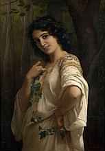 Charles-Zacharie LANDELLE 1821 - 1908 JEUNE FILLE À LA COURONNE DE LIERRE Huile sur toile