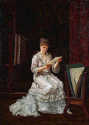 Louis ROBIN (né en 1845) LE CARTON D''ESTAMPES Huile sur panneau