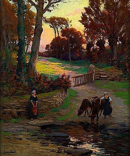 Mathurin JANSSAUD (1857-1940) PAYSAGE BRETON Pastel sur carton