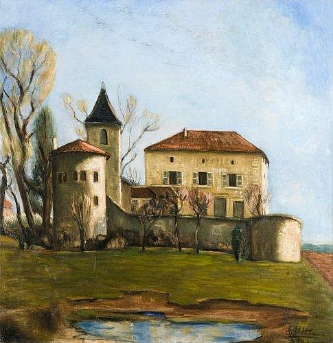 André UTTER (1886-1948) LE CHATEAU DE SAINT-BERNARD, AIN, 1935 Huile sur toile