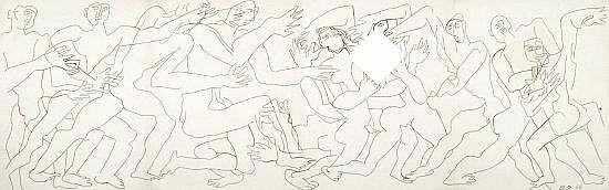 Ossip ZADKINE (1890-1967) FRISE DE GUERRIERS, 1964 Dessin à l'encre de Chine sur une feuille de papier BFK pliée en quatre avec une...