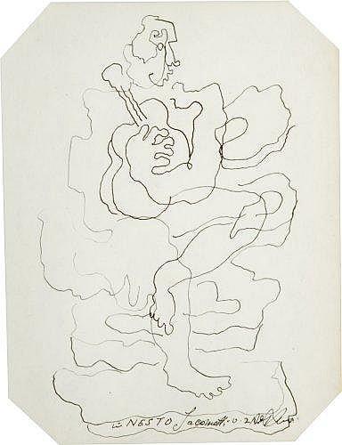Ossip ZADKINE (1890-1967) HOMME A LA GUITARE Dessin à l'encre et plume sur papier